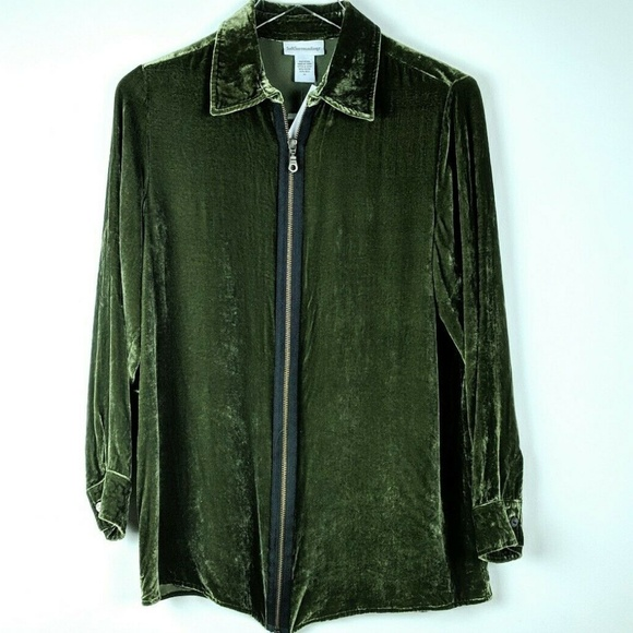 Soft Surroundings Jackets & Blazers - NWOT Soft Surroundings Jacket Velvet Green Zip XS